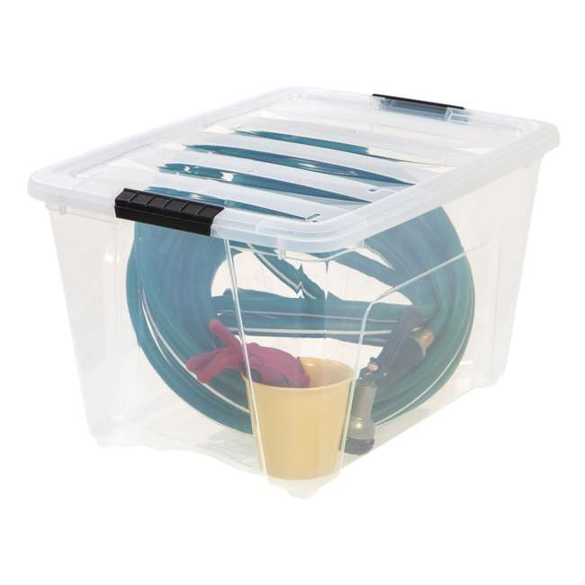 588335-3PK IRIS 53 Qt Stack & Pull Storage Lidded Container Box Bin System, Clear (3 Count) 2