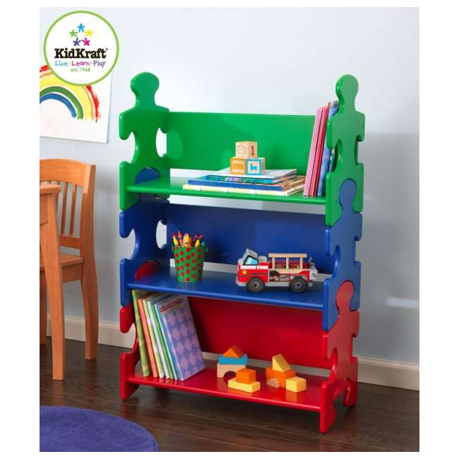 14400-U-A KidKraft Wood Kids Puzzle Bookcase Shelf - Primary | 14400 (Open Box)