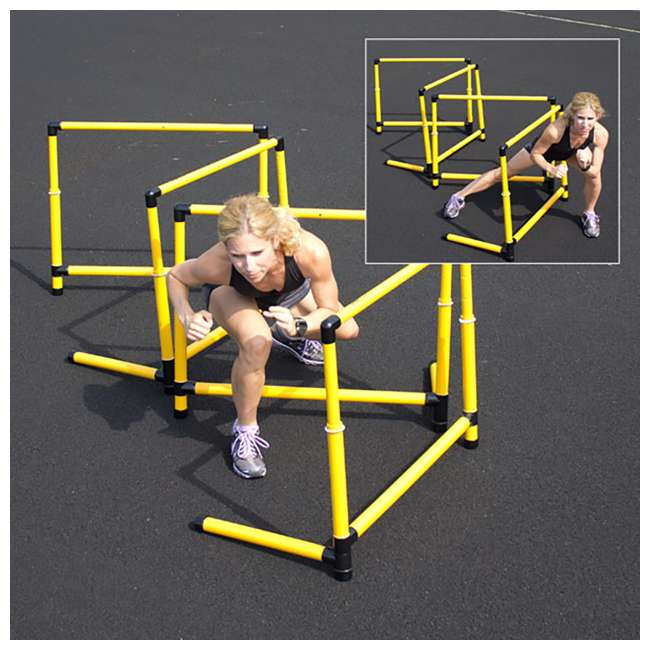400-120-210 Prism Fitness 6 Inches Tall Smart Fixed-Height Track Workout Hurdles, Set of 6 2