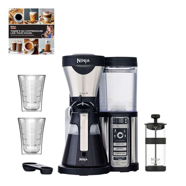 CF080QREF_EGB-RB + CBCF090 + 2 x CF14HOMEW Ninja Coffee Bar w/ Cookbook & To-Go Cups (Certified Refurbished)