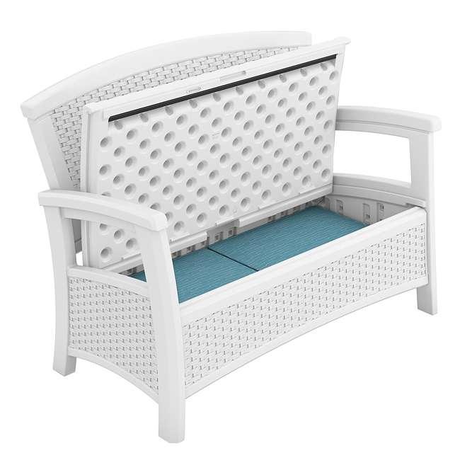 BMDB3010W + BMWB5000W + 2 x BMCC1800W Suncast Patio Coffee Table, Loveseat w/ Storage, Club Chair w/ Storage (2 Pack) 7