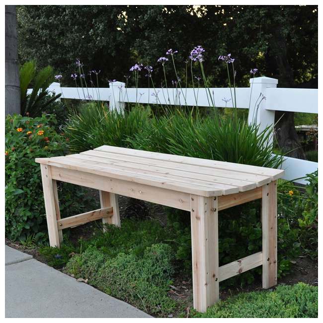 SHN-4204N Shine Company 4 Foot Backless Yellow Cedar Bench for Garden and Patio, Natural 3