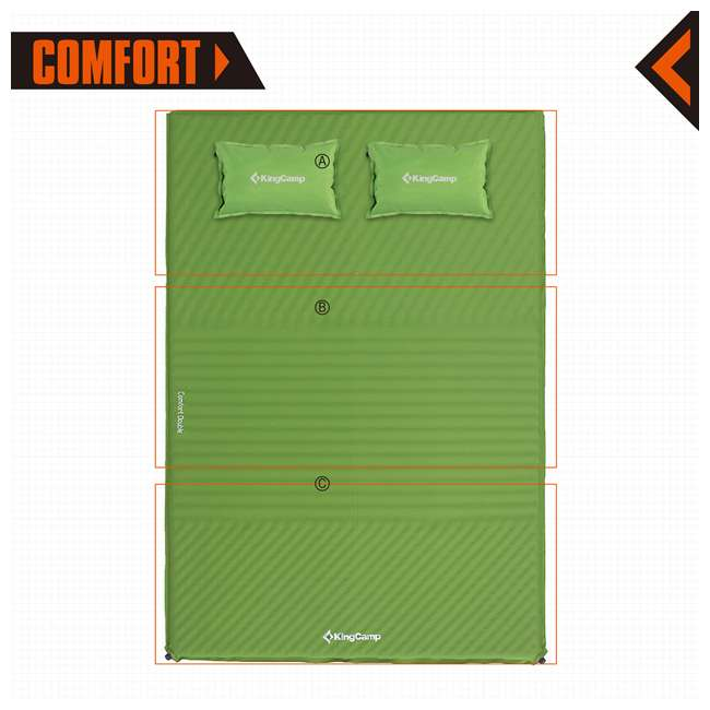 KM359460040000 KingCamp Double Self Inflating Camping Sleeping Pad Mat with 2 Pillows, Green 2