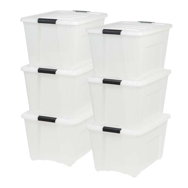 6 x 100299 IRIS 53 Qt Stack & Pull Storage Lidded Container Box Bin System, Pearl (6 Count)
