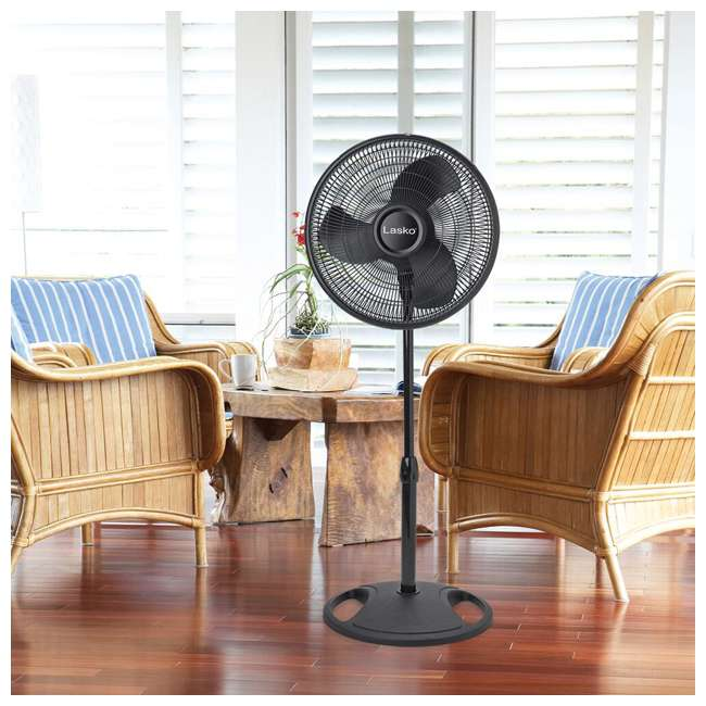 LKO-2521-TX-U-A Lasko 16 Inch Oscillating 3 Speed Adjustable Tilting Stand Fan, Black (Open Box) 3