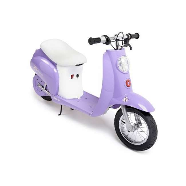 15130661 + 97783 Razor Pocket Mod Electric Retro Scooter, Purple & Helmet 1