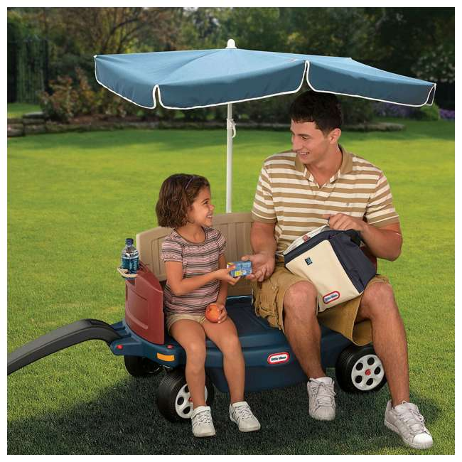 618031M-U-B Little Tikes Kids Ride and Relax Toy Pull Wagon with Umbrella and Cooler (Used) 5