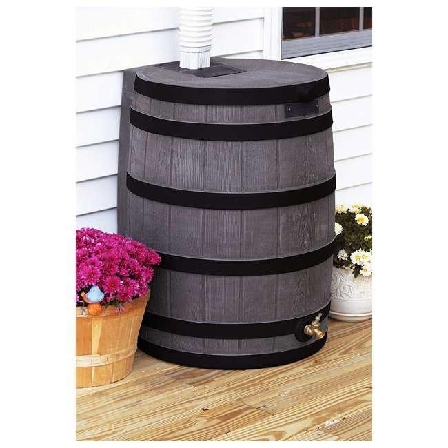 RW50-DR-OAK Good Ideas Rain Wizard Rain Collection Rain Barrel 50-Gallon Darkened Ribs, Oak 1