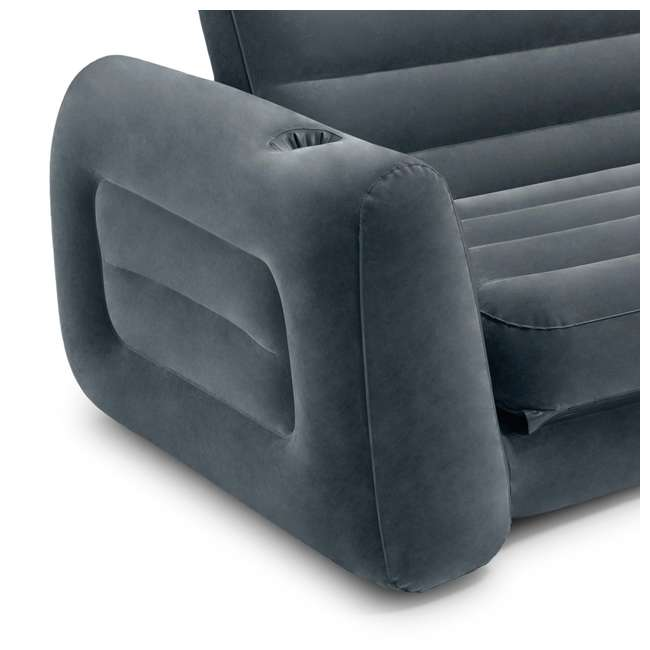 66552EP Intex Queen Size Pull Out Sofa Bed Sleep Away Futon Inflatable Couch, Dark Gray 1