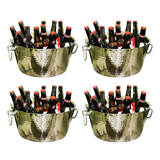 4 x 17689 BREKX Anchored Walled Hammered Steel Beverage Bucket (4 Pack)