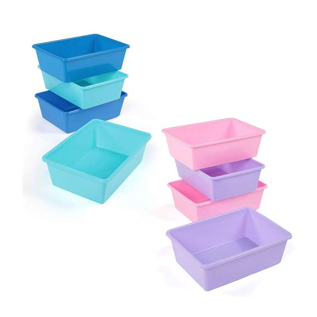 XL081 + XL104 Tot Tutors Large 4 Pink/ Purple Storage Bins and 4 Blue/ Teal Large Storage Bin