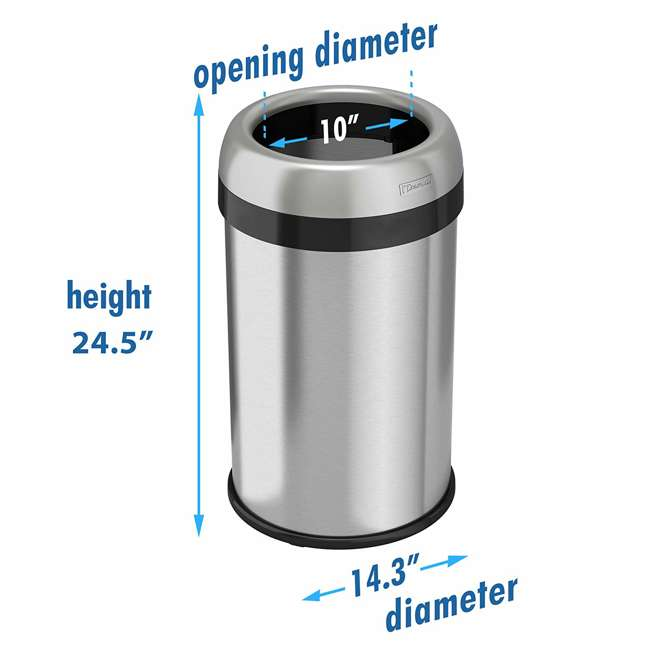 OL13STR iTouchless 13 Gallon Deodorizer Trash Can with Open Top, Stainless Steel 4