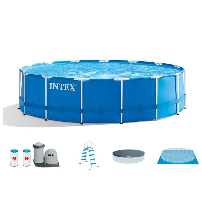 "28253EH-U-A Intex 18'x48"" Above Ground Pool Set w/ Pump Ladder Cover (Open Box) (2 Pack)"
