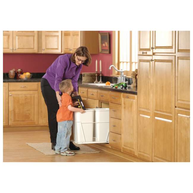 RV-15PB-2 S-24 Rev-A-Shelf RV-15PB-2 S Double 27 Quart Pull-Out Kitchen Waste Containers, White 1