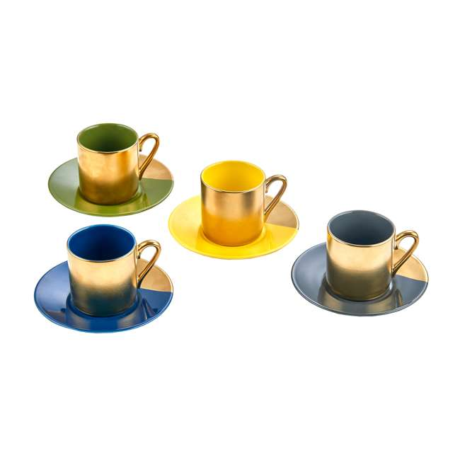 8 x CC672 Yedi Houseware Gold & Pastel Espresso Cups and Saucers, Set of 32 1