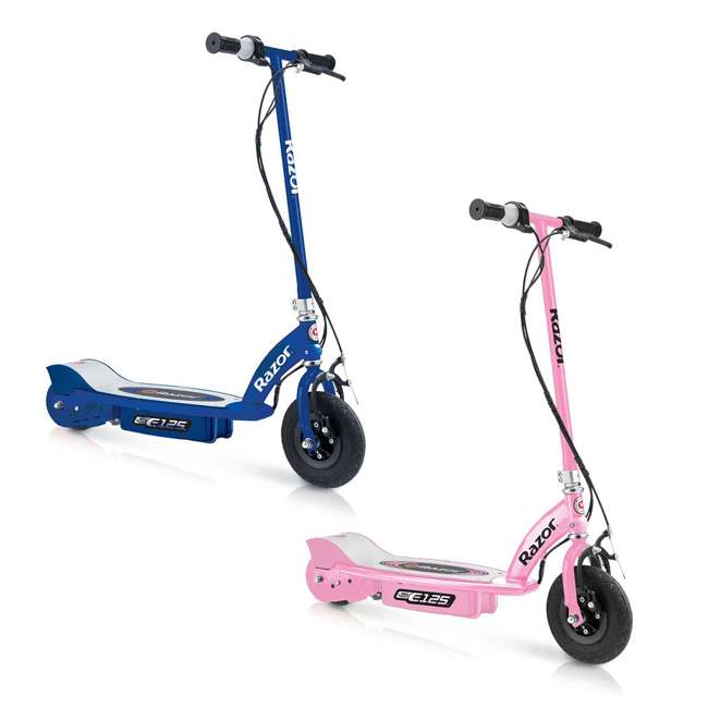 13111163 + 13111141 Razor E125 Motorized Rechargeable Electric Scooters, 1 Pink & 1 Blue