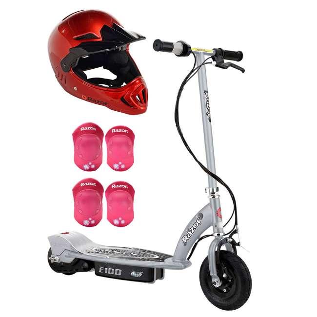 13181112 + 97880 + 96783 Razor E100 Kids 24 Volt Electric Ride On Scooter, Helmet, & Elbow & Knee Pads