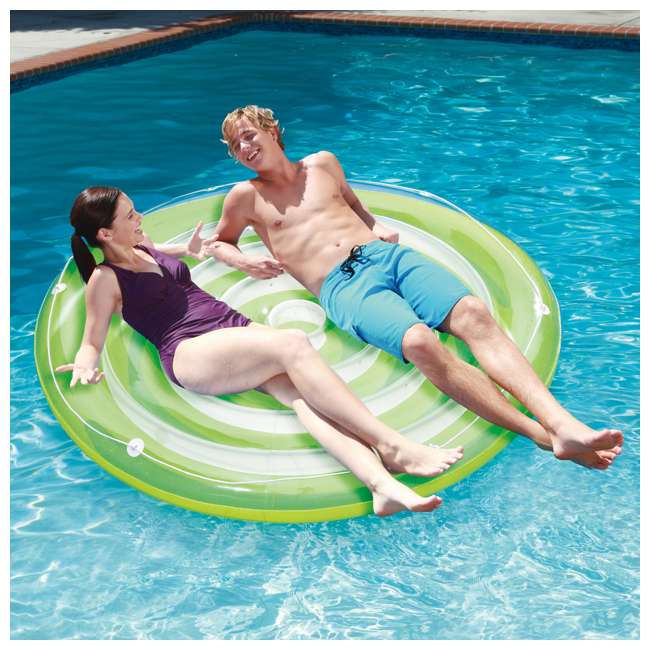 P4N024521167 + K80002000167 + K80188000167 Summer Waves Round 24 Foot Frame Pool w/ Inflatable Swirl Hibiscus Floats 8
