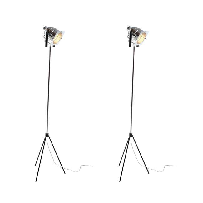 3051-22 Adesso Spotlight Steel Silver Adjustable Standing Floor Lamp w/ Tripod Base  (2 Pack)