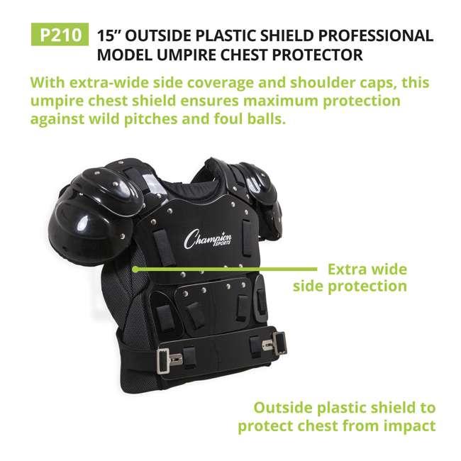 P210 Champion Sports 15 Inch Baseball Outside Shield Umpire Chest Protector, Black 4