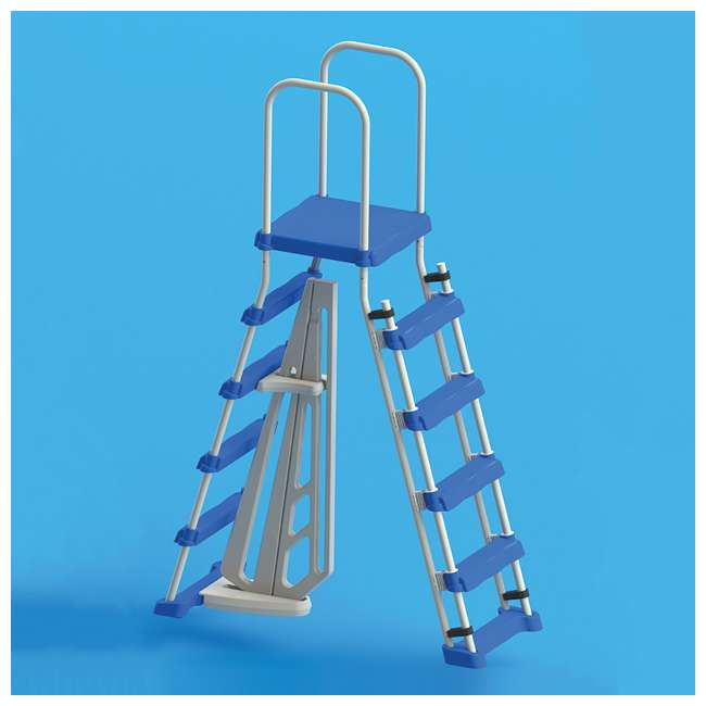 87950 + 87953 Swimline 48 Inch Pool Ladder with 9x36-Inch Vinyl Protective Pool Ladder Mat 5