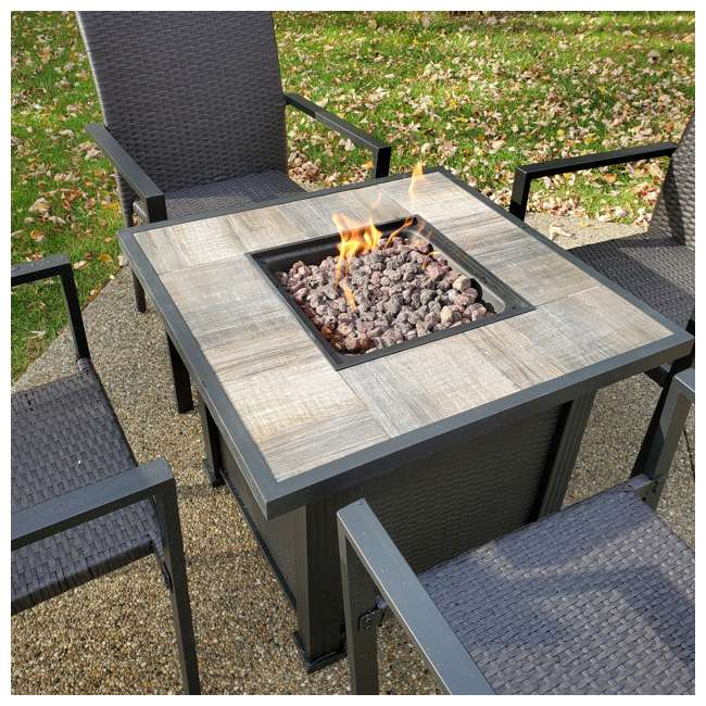 FIREPITSET Leisure Classics Harbor Springs 50000 BTU 5 Piece Outdoor Tile Top Fire Pit Set 2