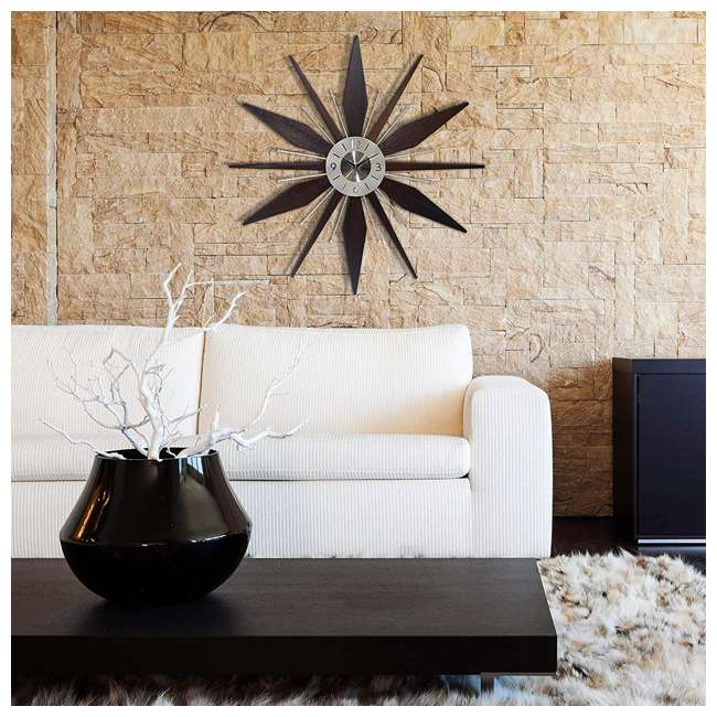 15201NT Infinity Instruments Sunburst Mid-Century Utopia Metal Wall Clock, Dark Walnut 5