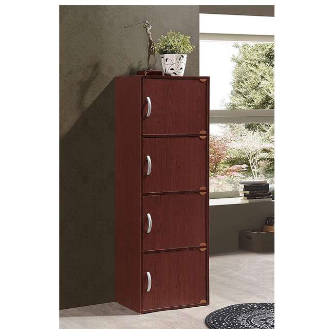 HID4 MAHOGANY Hodedah 4 Door Enclosed Multipurpose Storage Cabinet for Home/Office, Mahogany 1