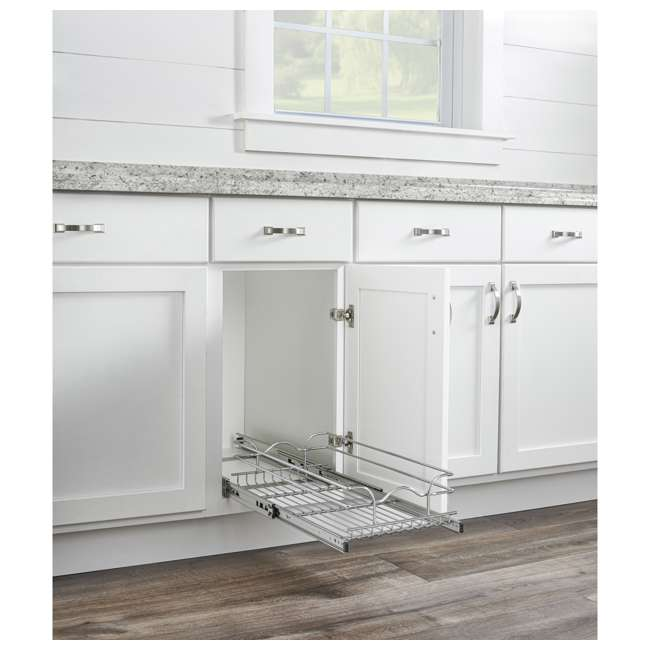 """5WB1-1220CR-1 Rev-A-Shelf 5WB1-1220CR-1 12"""" x 20"""" Single Kitchen Cabinet Pull Out Wire Basket 2"""