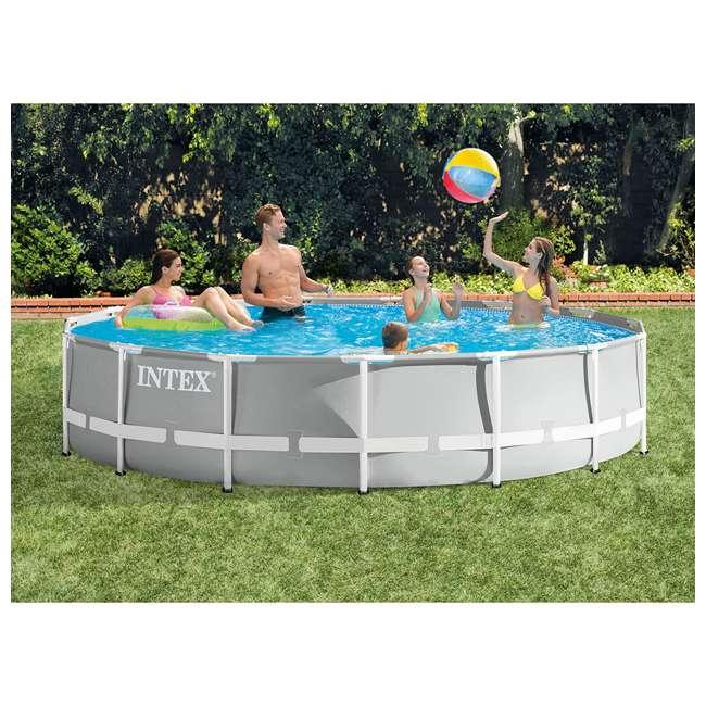 26723EH + 28032E Intex 15 Foot Prism Frame Pool Set with Debris Cover 5