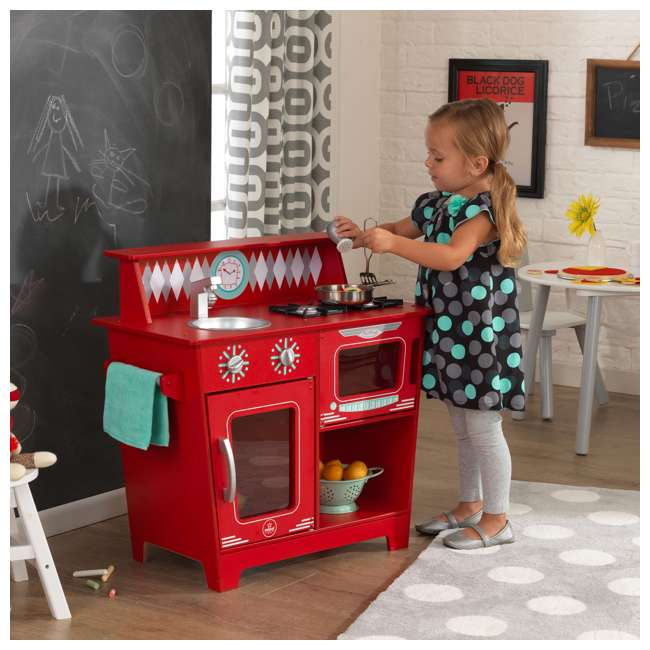 KDK-53362 KidKraft Classic Pretend Play Kitchenette Set, Red 2