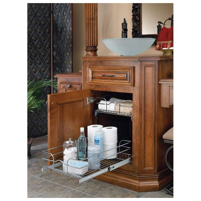 """5WB2-1222-CR Rev-A-Shelf 12"""" Wide 22"""" Deep Base Kitchen Cabinet 2 Tier Pull Out Wire Basket 7"""