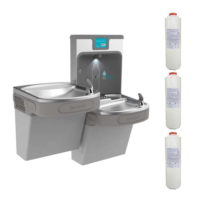 LZSTL8WSLP + 3 x 51300C Elkay EZH20 Bottle Filling Station & Fountain + Replacement Filter (3 Pack)