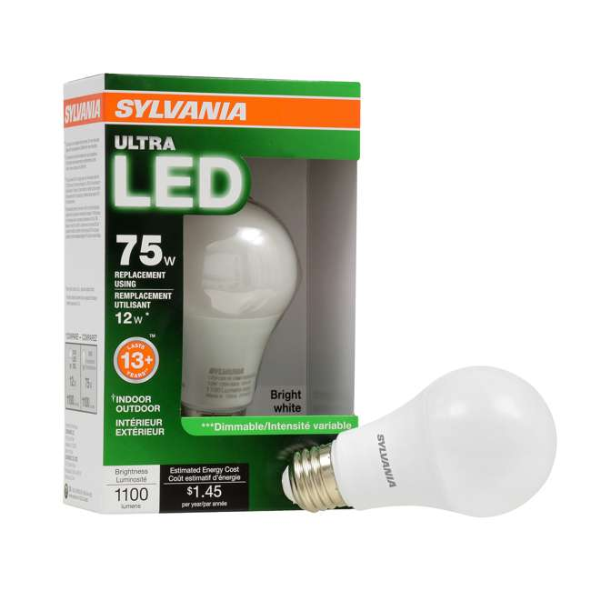 3 x SYL-74426 SYLVANIA Ultra 75W Equivalent 12W Dimmable A19 LED Bulb, Bright White (3 Pack) 4