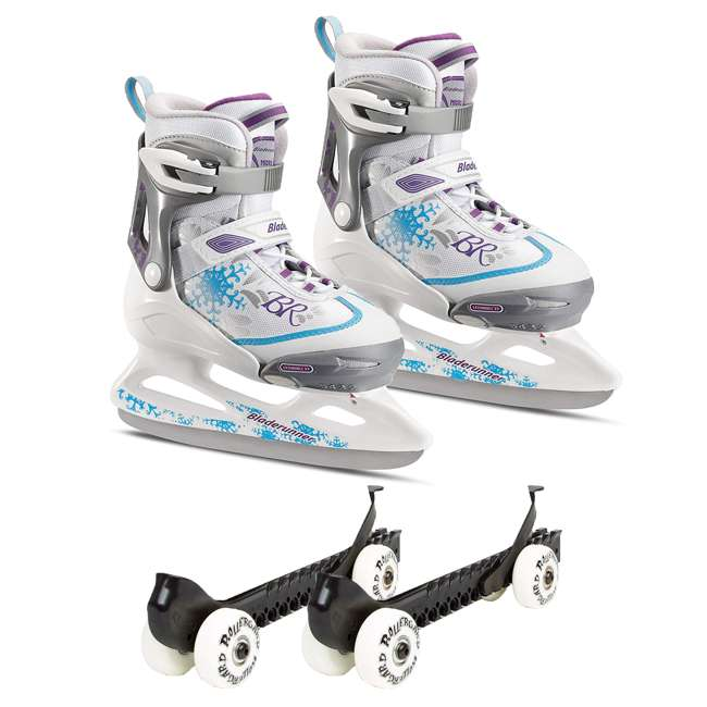0G144500T1A-L + 44374-B Rollerblade Bladerunner Micro Ice G Skates, Large, & Skate Guard Rollers (Pair)