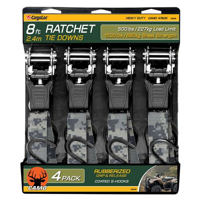 32582 CargoLoc 32582 8 Ft x 1 In 1500 Lb Ratchet Tie Down Straps with S Hooks (4 Pack)
