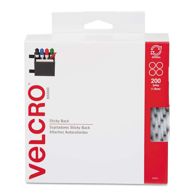 91824 Velcro USA Sticky Back Indoor Hook and Loop Adhesive Fastener Pads, Set of 200
