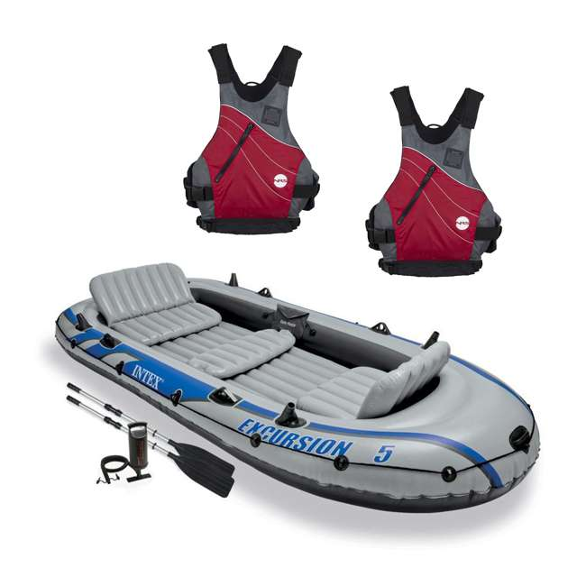 68325EP + NRS_40034_01_105 Intex Excursion 5 Person Inflatable Raft, 2 Oars & 2 Life Jackets