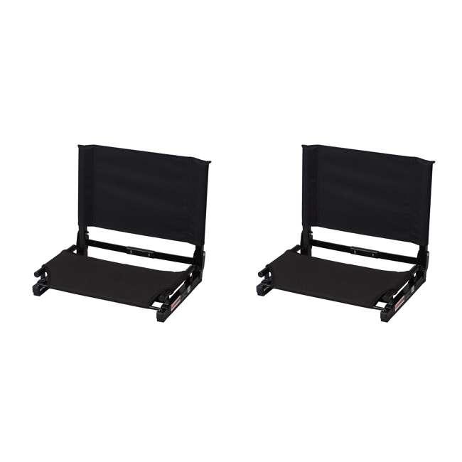SC2-BLACK Stadium Chair Game Changer Bleacher Seat, Black (2 Pack)
