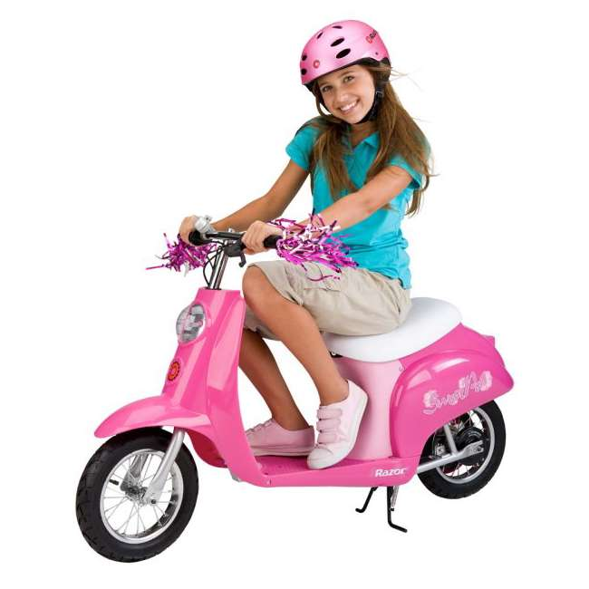 15130659 + 97783 + 96761 Razor Electric Retro Kids Scooter, Pink w/ Youth Sport Helmet, Elbow & Knee Pads 5
