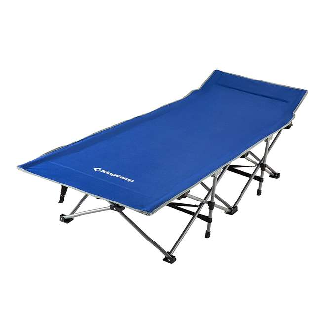 KC800310020000 KingCamp Folding Deluxe Lightweight Portable Camping Bed Cot w/ Carry Bag, Blue