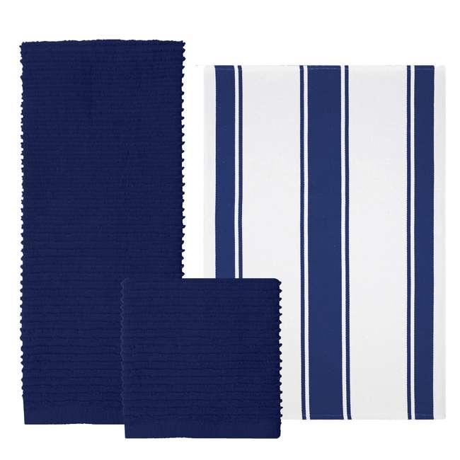 9459-1955 MU Kitchen 9459-1955 Set of 1 Ridged Cotton Dishcloth and 2 Dish Towels, Blue