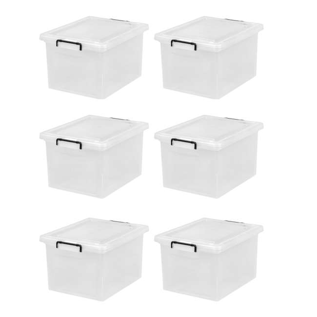 585950-6PK IRIS USA Letter and Legal Size File Box Storage Container with Buckle, Clear
