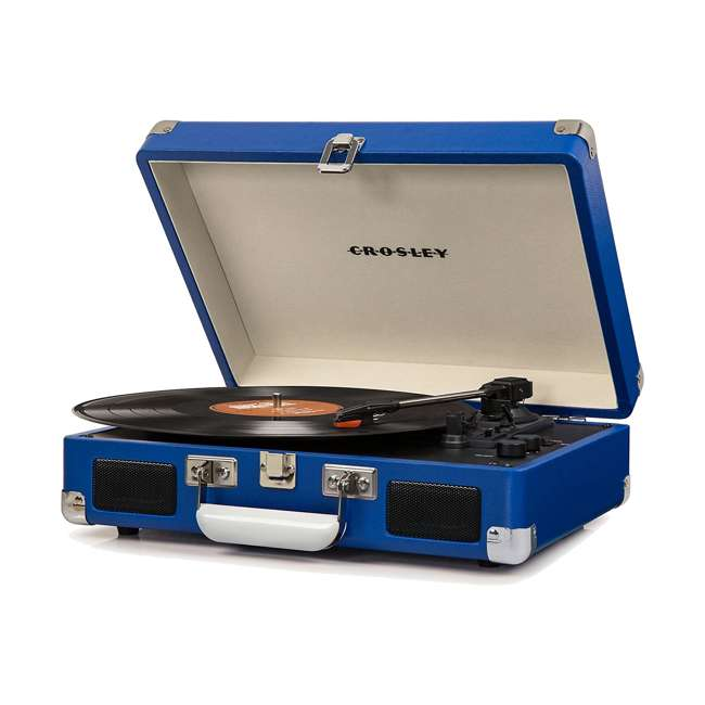 CR8005D-BL Crosley Cruiser Deluxe Portable Bluetooth Turntable, Blue
