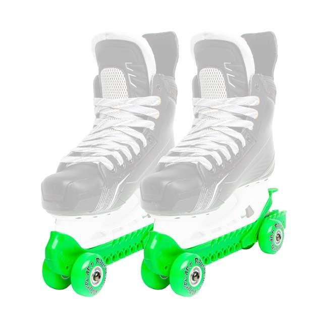 44374-G Rollergard 44374-G Adjustable Kids Ice Skate Guard & Roller Skate, Green (Pair)