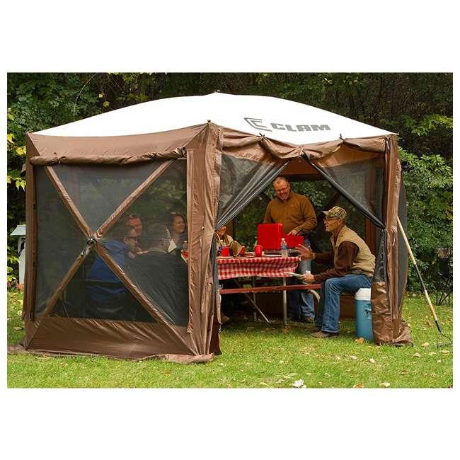 CLAM-PV-9882 + CLAM-PV-FLOOR-12878 Clam Quickset Pavilion Camper Brown Tent and Floor Tarp 5