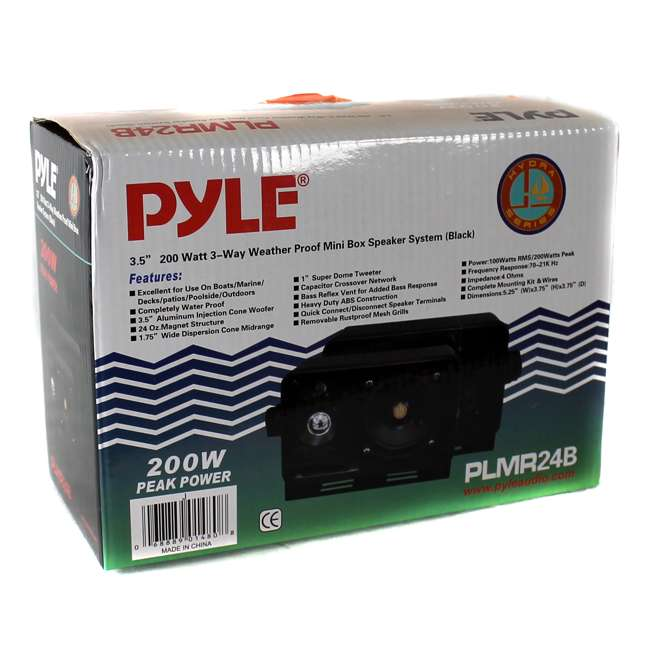 PLMR24B Pyle PLMR24B 3.5-Inch 200W 3-Way Weather Proof Mini Box Speaker System - Black (Pair) 4