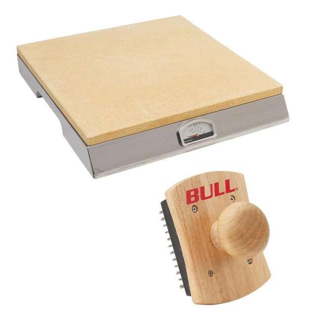 BOPA-24125 + BOPA-24127 Bull PizzaQue Pizza Stone Grill & PizzaQue Pizza Stone Scrubber