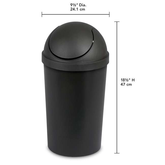6 x 10839006 Sterilite 10839006 3 Gallon Round Swing Top Plastic Wastebasket, Black (6 Pack) 3