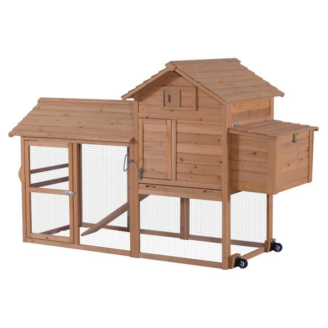 6010-0309L Lovupet 6010-0309L Chicken Rabbit Poultry Pet Backyard Wheeled Coop House Pen